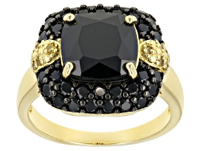 Pre-Owned Black Spinel 18k Gold Over Silver Ring 5.69ctw