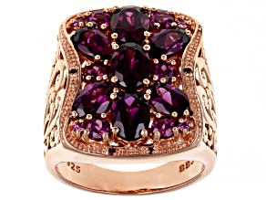 Pre-Owned Raspberry color rhodolite 18k gold over silver ring 5.15ctw