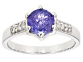 Pre-Owned Blue tanzanite rhodium over sterling silver ring 1.04ctw