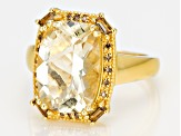 Pre-Owned Yellow Labradorite 18k Gold Over Silver Ring 5.16ctw