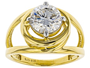 Pre-Owned Moissanite 14k Yellow Gold Over Silver Ring 1.90ct DEW.