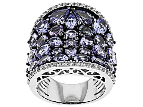 Pre-Owned Blue tanzanite rhodium over sterling silver band ring 7.68ctw