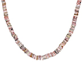 Pre-Owned Pink Rhodochrosite Rhodium Over Silver Necklace Strand