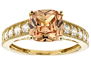 Pre-Owned Brown And White Cubic Zirconia 10k Yellow Gold Ring 4.66ctw