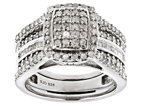 Pre-Owned White Diamond Rhodium Over Sterling Silver Interchangeable Ring And Band 1.45ctw