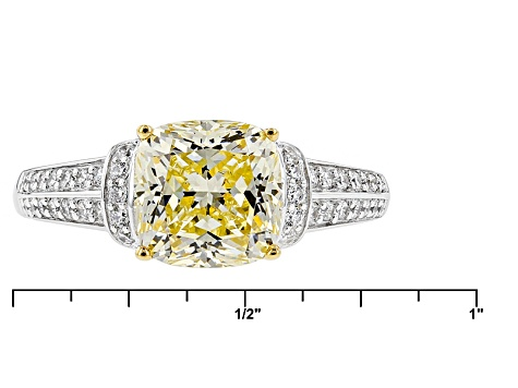 Pre-Owned Yellow And White Cubic Zirconia Rhodium Over Sterling Silver Ring 4.13ctw