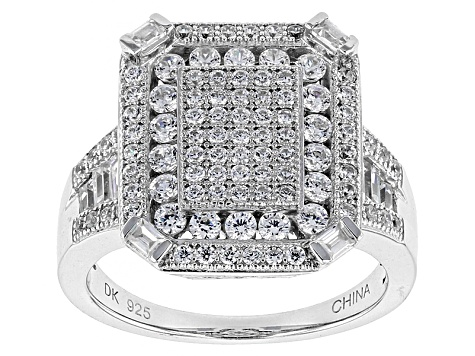 Pre-Owned White Cubic Zirconia Rhodium Over Sterling Silver Ring 1.89ctw