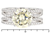 Pre-Owned Yelow And White Cubic Zirconia Silver Ring 8.24ctw (4.59ctw DEW)