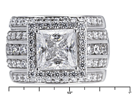 Pre-Owned Cubic Zirconia Silver Ring 7.43ctw (4.36ctw DEW)
