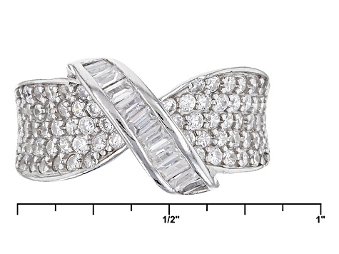Pre-Owned White Cubic Zirconia Rhodium Over Silver Ring 1.72ctw