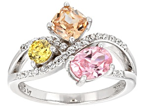 Pre-Owned Pink, Brown, Yellow, And White Cubic Zirconia Rhodium Over Silver Ring 3.35ctw