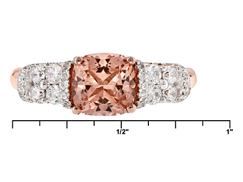 Pre-Owned Morganite Simulant And White Cubic Zirconia 18k Rose Gold Over Sterling Silver Ring 2.36ct