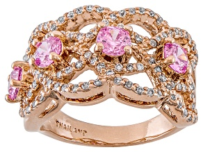 Pre-Owned Pink And White Cubic Zirconia 18k Rose Gold Over Silver Ring 2.20ctw (1.52ctw DEW)