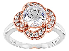Pre-Owned White Cubic Zirconia Rhodium Over Silver And 18k Rose Gold Over Silver Ring 3.39ctw