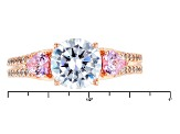 Pre-Owned Pink And White Cubic Zirconia 18k Rose Gold Over Silver Ring 4.22ctw
