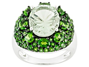 Pre-Owned Green Brazilian Prasiolite Sterling Silver Ring 6.75ctw