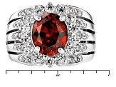 Pre-Owned Red And White Cubic Zirconia Silver Ring 4.96ctw