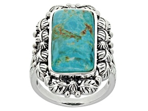 Pre-Owned Blue Turquoise Sterling Silver Ring.