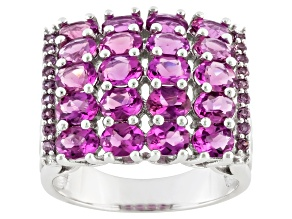 Pre-Owned Red Lab Created Bixbite And Rhodolite Garnet Sterling Silver Ring 2.74ctw.