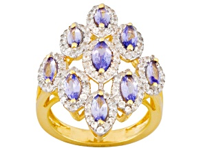 Pre-Owned Tanzanite And White Zircon 18k Yellow Gold Over Sterling Silver Ring 1.70ctw