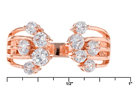 Pre-Owned White Cubic Zirconia 18k Rose Gold Over Sterling Silver Ring 1.29ctw