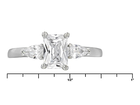 Pre-Owned White Cubic Zirconia Rhodium Over Sterling Silver Ring With Band 2.40ctw