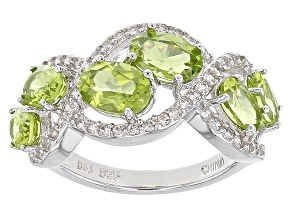 Pre-Owned Green Peridot Sterling Silver Ring 4.45ctw