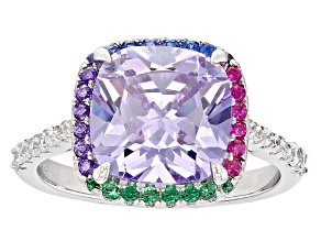 Pre-Owned Purple, White, Red, Blue, And Green Cubic Zirconia Rhodium Over Sterling Silver Ring 3.10c