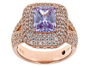 Pre-Owned Lavender And White Cubic Zirconia 18k Rose Gold Over Sterling Silver Ring 5.72ctw