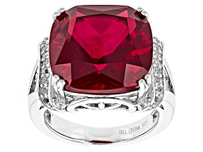 Pre-Owned Red Lab Created Ruby Sterling Silver Ring 11.35ctw