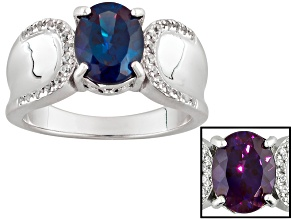 Pre-Owned Color Change Lab Created Alexandrite Sterling Silver Ring 2.26ctw