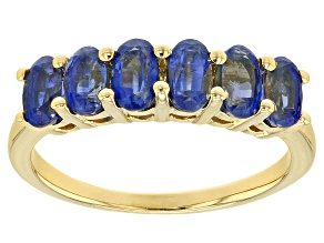 Pre-Owned Blue kyanite 18k yellow gold over sterling silver ring 1.99ctw