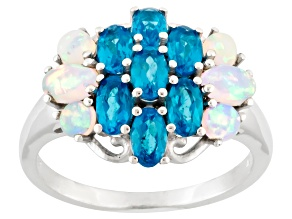 Pre-Owned Blue Neon Apatite And Ethiopian Opal Sterling Silver Ring. 2.33ctw