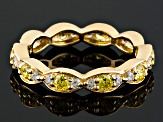 Pre-Owned Yellow And White Cubic Zirconia 18k Yg Over Silver Ring 1.26ctw
