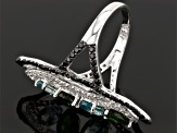 Pre-Owned Chrome Diopside, Blue Zircon, Black Spinel And White Zircon Sterling Silver Ring 4.24ctw