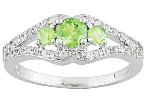 Pre-Owned Green Demantoid Sterling Silver Ring 1.28ctw