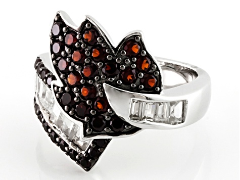 Pre-Owned Red Garnet And White Zircon Sterling Silver Bypass Ring 1.81ctw