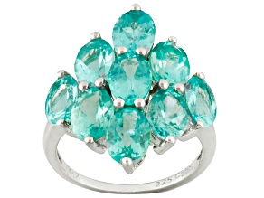 Pre-Owned Blue Apatite Sterling Silver Ring 6.90ctw
