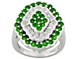 Pre-Owned Green Chrome Diopside And White Topaz Sterling Silver Ring 2.94ctw