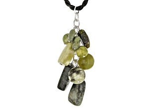 Pre-Owned Green Connemara Marble Silver Tone Brass Necklace With Cord