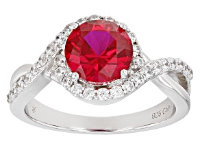 Pre-Owned Red Synthetic Corundum And White Cubic Zirconia Rhodium Over Sterling Silver Ring 3.04ctw