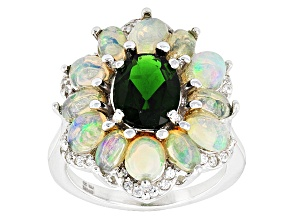 Pre-Owned Green Chrome Diopside, Ethiopian Opal And White Zircon Sterling Silver Ring 3.49ctw