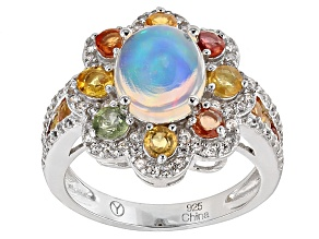 Pre-Owned Ethiopian Opal Sterling Silver Ring 3.19ctw