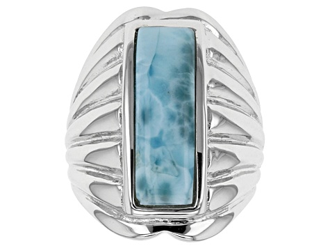 Pre-Owned Blue Larimar Solitaire Sterling Silver Ring