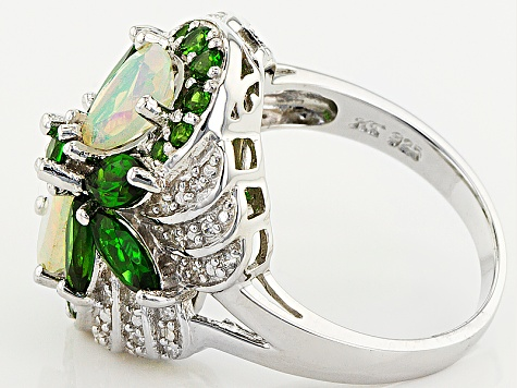Pre-Owned Ethiopian Opal, Chrome Diopside And White Zircon Sterling Silver Ring. 2.68ctw