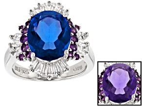 Pre-Owned Blue Color Change Fluorite, Amethyst And White Zircon Sterling Silver Ring 4.90ctw