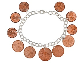 Pre-Owned Silver Tone Brass Coin Bracelet