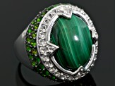 Pre-Owned Green malachite sterling silver ring 1.80ctw
