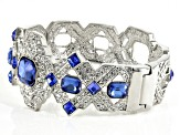 Pre-Owned White And Blue Crystal Silver Tone Deco Bracelet