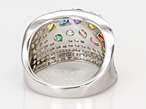 Pre-Owned Multicolor & White Cubic Zirconia Rhodium Over Sterling Silver Cluster Ring 4.61ctw